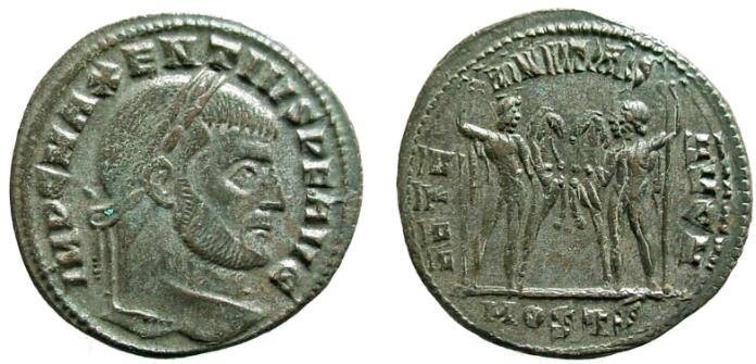 Ancient Coins - 1060RE) Maxentius 306-312 Æ Follis, 25.5 MM, 6.42 GRMS, Obv: IMP C MAXENTIVS P F AVG, Laureate head of Maxentius, right. Rev: AETE-RNITAS AVGN, The Dioscuri, Castor and Pollux, eac