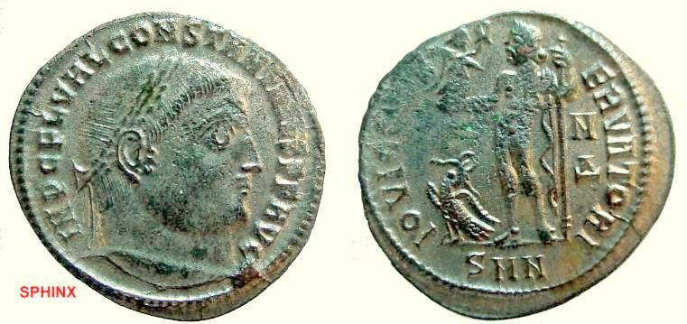 Ancient Coins - 581GG) Constantinus I. 306-337 AD, AE follis, 23.5 mm, 4.18 grms, Obv. Diademed bust l. IMP C FL VAL CONTANTINVS P F AVG, Rev. Jupiter standing l., FULLY SILVERED