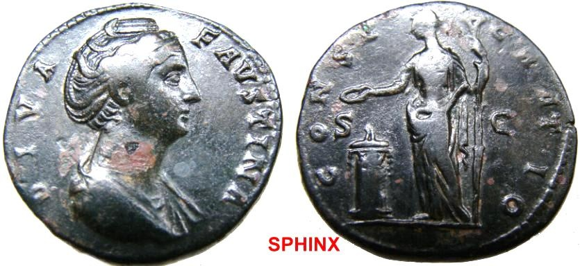 Ancient Coins - 1CHGY1) Diva Faustina Senior. Died AD 140/1. AE Sestertius (31mm, 29.28 g, 6h). Rome mint. Struck circa AD 146-161. Draped bust right / Vesta standing left, sacrificing  VF