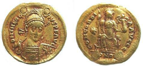 Ancient Coins - 654THE) THEODOSIUS II, CIRCA 402-450 AD, GOLD SOLIDUS, 4.46 GRAMS, REV CONCORDIA SEATED LEFT HOLDING NIKE CONCORDIA AVGGG, STAR IN LEFT FIELD AND CONOB IN EXERGUE, RIC X, 202, SCRC