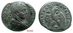 Ancient Coins - 500KH7) SYRIA, ANTIOCH, ELAGABALUS, AD 218-222, AR TETRADRACHM, LAUREATE AND DRAPED BUST RIGHT / EAGLE RIGHT, WREATH IN BEAK AND STAR BETWEEN LEGS, cif PRIEUR # 275, SHARP VF.