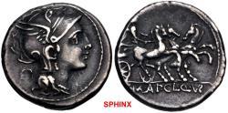 Ancient Coins - 379MG19) Appius Claudius Pulcher, T. Manlius Mancius, and Q. Urbinius. 111-110 BC. AR Denarius (17.5mm, 3.92 g, 3h). Rome mint. Helmeted head of Roma right; quadrangular device VF