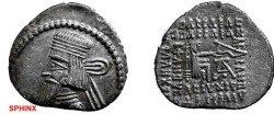 Ancient Coins - 268RH) PARTHIA, ARTABANUS II, 10-38 AD, AR DRACHM, 3.69 GRAMS, TYPE OF SELLWOOD # 63.6 ( Ã WITH DOT UNDER; MINT OF ARIA ?)  HIGH SILVER CONTENT, IN  VF CONDITION. SCARCE.
