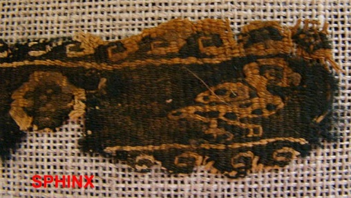 Ancient Coins - 465COP) Exquisite narrow longitudinal Coptic textile fragment with angel carrying a duck and following others.