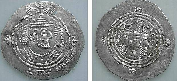 Ancient Coins - 277LH) ARAB-SASANIAN, ABDULLAH IBN AL-ZUBAYR, RIVAL CALIPH, 60-73 AH / 680-692 AD, AR DRACHM WITH TITLE OF CALIPH IN PAHLAVI SCRIPT, DA + RA (?) DARABJIRD 60YE, XF SCARCE