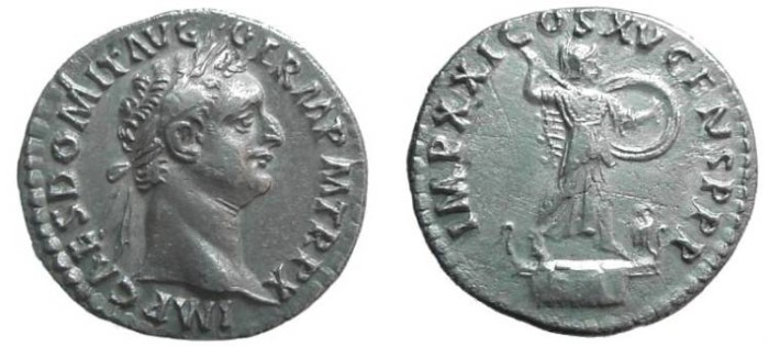 Ancient Coins - 829GM) DOMITIAN, 81-96 AD, AR DEN. 18.5 MM, 3.41 GRMS, Obv. Qa, REV. MINERVA ON VESSEL; RSC 266, RIC-153, IN SUPERB VF+ COND.