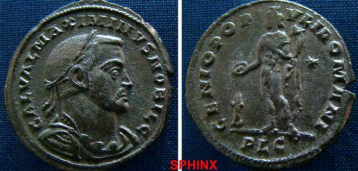 Ancient Coins - 924LE0) Galerius. As Caesar, AD 293-305. Æ Follis (28mm, 11.48 g, 6h). Lugdunum (Lyon) mint. Struck AD 303-305. Laureate and cuirassed bust right / Genius standing left, holding pa