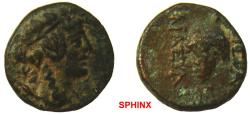Ancient Coins - 128RR7Z) APAMEA, Seleucis and Pieria; AE 12 mm, 148 grms, Head of Dionysos right wearing wreath of ivy / Rev. Bunch of grapes, ΑΠΑΜΩΝ / ΤHΣΙΕΡΑΣ / ΚΑΙΑΣΥΛΟΥ / ΚΑ ; Date off flan bu