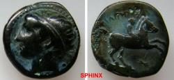 Ancient Coins - 735RH19) MACEDONIAN KINGDOM, PHILIP II. 359-336 B.C. AE 19 mm, 5.45 grms, Diademed head of Apollo LEFT / Youth on horseback riding right, ΒΑΣΙΛΕΩ ΦΙΛΙΡΟΥ,  Price P64c var.; VF