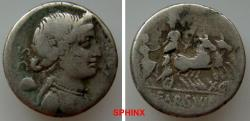 Ancient Coins - 772HL19) L. Farsuleius Mensor. 76 BC. AR Denarius (18mm, 3.64 g). Rome mint. Diademed and draped bust of Libertas right; XII and pileus behind, S • C before; (MENSOR) upwards to ri