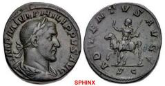 Ancient Coins - 478REB0Z) Philip I. AD 244-249. Æ Sestertius (27.5mm, 20.58 g, 12h). Rome mint, 2nd officina. 4th emission, AD 245. Laureate, draped, and cuirassed bust right / Philip on horseback