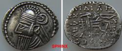 Ancient Coins - 421FM9X) KINGS of PARTHIA. Vologases IV. Circa AD 147-191. AR Drachm (21 mm, 3.65 g). Ekbatana mint. Diademed bust left, wearing tiara / Archer (Arsakes I) seated right on thrones,