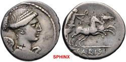 Ancient Coins - 506LC18) Moneyer issues of Imperatorial Rome. T. Carisius. 46 BC. AR Denarius (17mm, 3.83 g, 2h). Rome mint. Draped bust of Victory right, wearing pearl diadem / Victory in gallopi