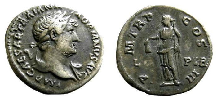Ancient Coins - 854GM)  HADRIAN, 117-138 AD, AR DENARIUS, 18.50 MM, 3.01 GRAMS, RSC-906 / RIC 128 with LIB PVB accross field, The IB in LIB is missing - most likely from a filled die; IN VF COND.