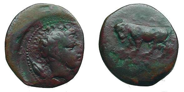 Ancient Coins - 27EB) SICILY, GELA, CIRCA 420-405 BC, AE 15.5 MM, 4.21 GRMS, TRIAS BULL LEFT / HEAD OF RIVER GOD RIGHT, BARLEY GRAIN BEHIND, JENKINS 498, IN VF.