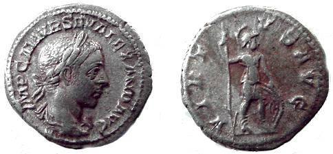 Ancient Coins - 121RO) ROME 222-235 C.E. Denarius Severus Alexander Rev. Jupiter with thunderbolt and scepter S.2221var.;VM36/1 except Jupiter.VF REV. SOME CORROSION; FINE CONDITION.