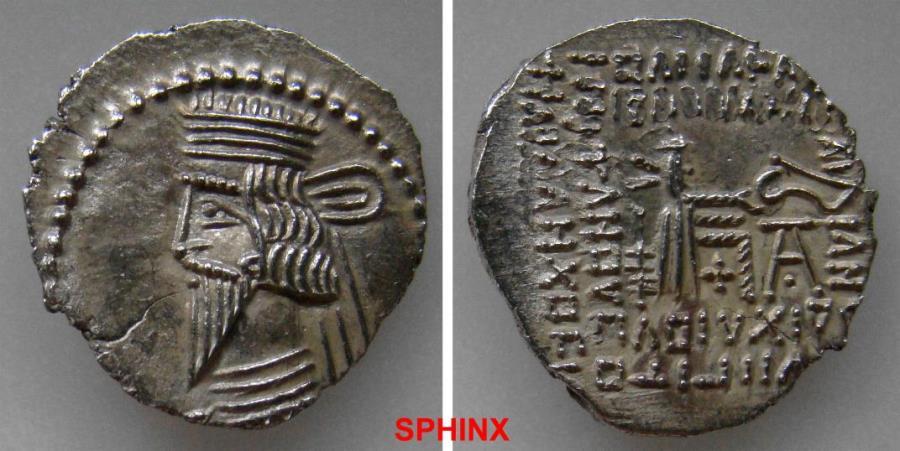 Ancient Coins - 381FC19) KINGS of PARTHIA. Pakoros I. Circa AD 78-120. AR Drachm (22 mm, 3.01 g). Ekbatana mint. Diademed bust left, wearing longer pointed, beard / Archer (Arsakes I) seated right