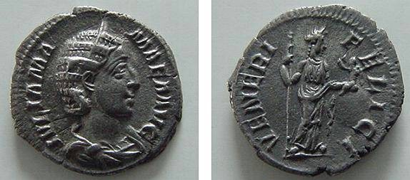 Ancient Coins - 2009RX) JULIA MAMAEA, MOTHER OF SEVERUS ALEXANDER, AR DENARIUS, RSC-60 , RIC-351,  IN XF CONDITION, AND NICE TONE