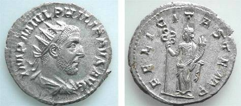 Ancient Coins - 09CL) PHILIP I, 244-249 AD, AR ANTONINIANUS, RSC-43, RIC-31, IN VF COND.