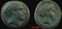 Ancient Coins - 519EK0) Northern Greece. Thessaly, Phalana. Æ 18 mm, 6.22 grms, Male head right / Head of a nymph right, hair tied in a saccos. Cf. SNG Copenhagen 203-8. Fine,  green patina.