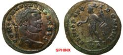 Ancient Coins - 288RK17) Constantius I. As Caesar, AD 293-305. Æ Follis (29 mm, 9.87 g). Rome mint. Circa 299 AD. Laureate head right / Genius standing left, holding patera and cornucopiae; T*.VF