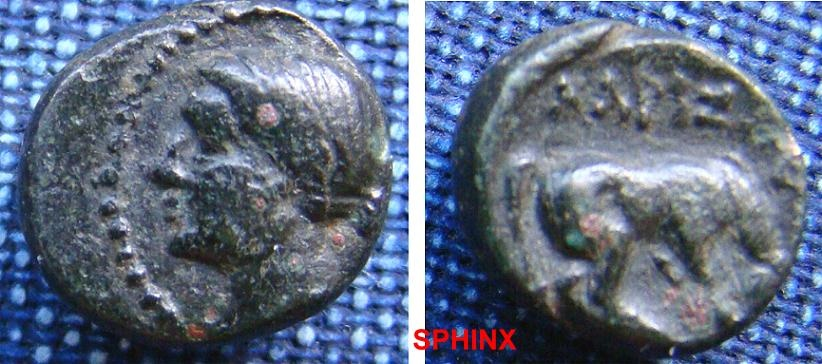 Ancient Coins - 554EK0) Thessaly Larissa. 3rd century B.C. AE 12 mm (2.1 g). Head of the nymph Larissa left / Horse standing right, about to roll. Rogers 303; SNG Copenhagen 145.