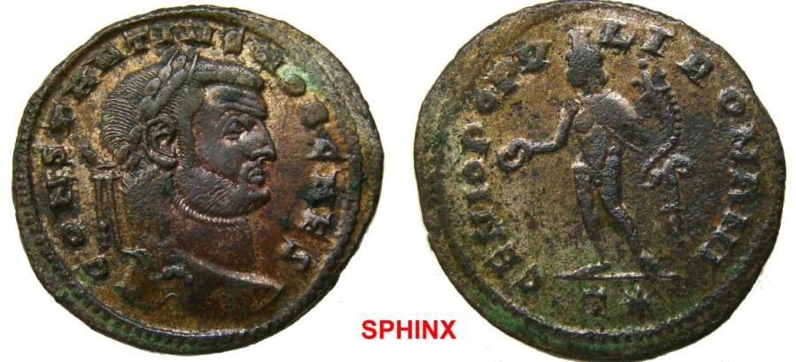 Ancient Coins - 288RK17) Constantius I. As Caesar, AD 293-305. Æ Follis (29 mm, 9.87 g). Rome mint. Circa 299 AD. Laureate head right / Genius standing left, holding patera and cornucopiae; T*.VF