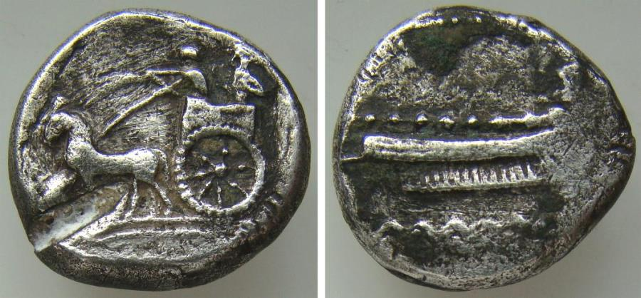 Ancient Coins - 192060-M) PHOENICIA, Sidon, Baalshillem (Sakton) II, ca 401-366 BC, AR 1/2 Shekel,   192060-M) PHOENICIA, Sidon, Baalshillem (Sakton) II, ca 401-366 BC, AR 1/2 Shekel, (6.75g, 19mm