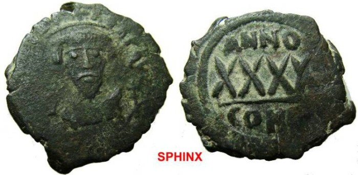 Ancient Coins - 328EE1) PHOCAS. Æ 40 Nummi (10.67 gm). Constantinople mint.  d N FOCAS PERP AVG, crowned bust facing, wearing consular robes, holding mappa and cross / Large XXXX; above, ANNO; to
