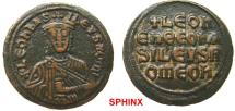 Ancient Coins - 624RM6) Leo VI the Wise. 886-912. Æ 40 Nummi – Follis (27 mm, 7.41 g). Class 3. Constantinople mint. + LЄOn ЬAS ILЄ[V]S ROm', crowned half-length bust facing, holding akakia / +LЄO