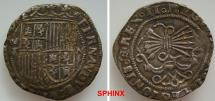 World Coins - 24FR7Z) SPAIN, Castile & León. Fernando V & Isabel I (Los Reyes Católicos - the Catholic royals). 1474-1504. AR Real (24 mm, 3.31 g). Crowned coat-of-arms / Yoke and bundle  VF