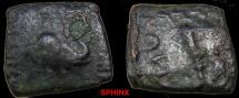 Ancient Coins - 382FCY1) BACTRIA, MENANDER, CIRCA 160-140 BC, AE SQUARE UNIT 13 X 13.5 MM, 2.05 GRAMS, ELEPHANT'S HEAD RIGHT, REV. CLUB UPWARDS, WITH KHAROSTHI INSCRIPTION; SEAR 7616, SNG ANS 915f