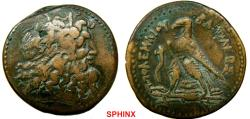 Ancient Coins - 611CMM17) PTOLEMAIC KINGS of EGYPT. Ptolemy III. 246-221 BC. AE Drachm (42 mm - 75.07 g). Alexandria mint. Struck 246-243 BC. Head of Zeus-Ammon right, wearing tainia / Eagle stand