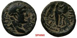 Ancient Coins - 336FM19) JUDAEA, Roman Administration. Agrippa II, with Domitian. Circa 50-100 CE. Æ (21 mm, 4.92 g). Caesarea Panias mint. Dated   RY 24. Laureate head right / Nike standing right