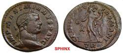 Ancient Coins - 299RK17) Maximianus Herculius (295 AD) AE Follis, 10.89 grms, 28 mm, Trier mint; Obv.: IMP MAXIMIANVS P AVG, Laureate head right.Rev.: GENIO POPV-L-IROMANI, Genius naked VF