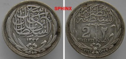 World Coins - 5BB3) EGYPT, SULTAN HUSSEIN, 2 Piastres Silver, 1335 AH- 1917 AD, KM#317 VF