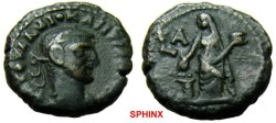 Ancient Coins - 195EE1) ROMAN EGYPT,DIOCLETIAN, 284-305 AD, POTIN TETRADRACHM, EUSEBIA STANDING HEAD LEFT , RIGHT HAND EXTENDED OVER GARLANDED GREEK ALTAR, HOLDS BOX IN LEFT HAND, LA ABOVE TO LEFT