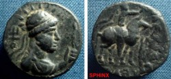 Ancient Coins - 629FF8) INDIA. Kushans. Soter Megas. Circa 2nd Century AD. Æ Tetradrachm (21mm, 8.37 gm). Radiate, diademed, and draped bust right, holding sceptre; tamga before / VF