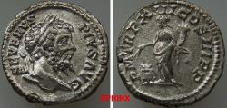 Ancient Coins - 264FR0Z) SEPTIMIUS SEVERUS. 193-211 AD. AR Denarius (19 mm, 2.51 gms). Struck 205 AD. SEVERVS PIVS AVG, laureate head right / P M TR P XIIII COS III P P, Annona standing facing, he