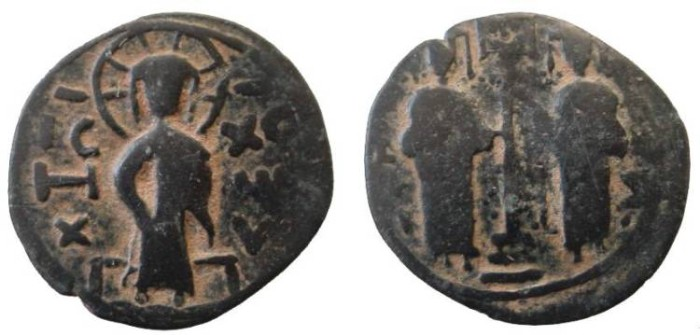 Ancient Coins - 1453EC) CRUSADER IMITATION OF  ZENGID ATABEG OF HALAB (ALEPPO), NUR AL-DIN MAHMUD IBN ZENGI, 541-569 AH / 1146-1174 AD, AE DIRHAM 27 MM (LARGE MODULE), 6.12 GRMS, BYZANTINE STYLE,