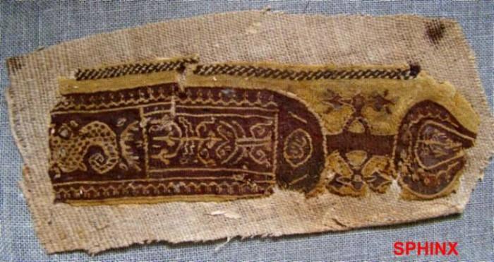 Ancient Coins - 101COP) LARGE COPTIC TEXTILE PURPLE BRAID CLAVUS BAND W/ FOLIAGE