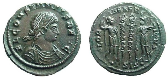 Ancient Coins - 1092RE) Constantine, AE 18.5 MM, 2.82 GRMS, minted in Siscia, 334-335 AD;  OBV. Laureate Constantine I  right,  REV.  two soldiers with two standards in between, GLORIA EXERCITVS.