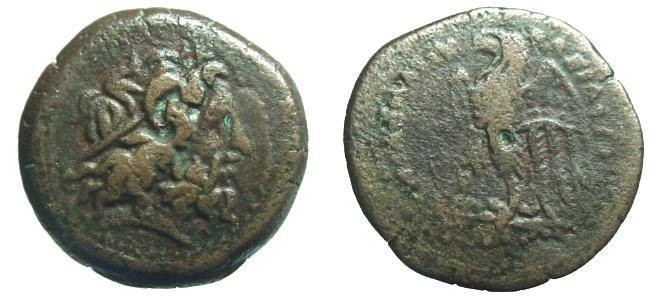 Ancient Coins - 607EC) PTOLEMAIC KINGDOM, EGYPT, ALEXANDRIA, PTOLEMY II PHILADELPHOS, 285-246 BC; AE 17 MM, 4.12 GRMS, OBV. ZEUS HEAD RIGHT, REV. EAGLE STANDING LEFT, SNG COP.164 IN FINE+ COND.