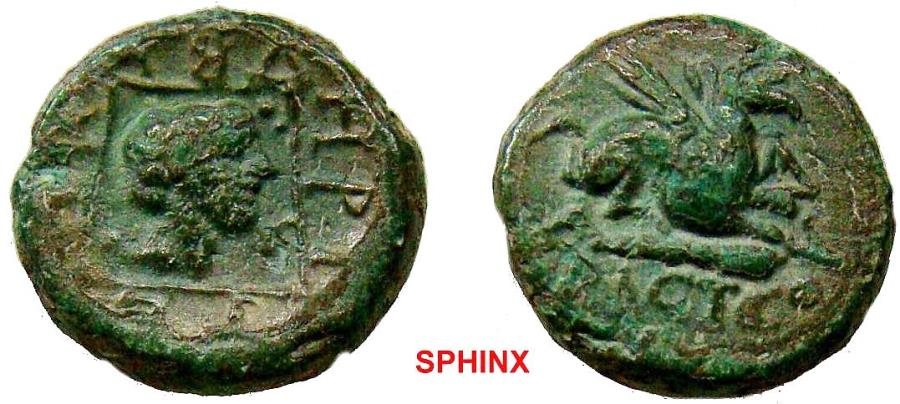 Ancient Coins - 11RR17) THRACE, Abdera. Circa 350-323 BC. Æ 15 mm (4.16 g). Griffin seated right on club; HPA below / Head of Apollo right in linear square. AMNG II 215 var. (magistrate); SNG Cope