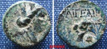 Ancient Coins - 730FB0) Cilicia, Aigeai. After 164 B.C. Æ 19 mm (5.3 g). Turreted head of Tyche right / Bridled head of horse left; behind, monogram. Cf. SNG BN 2281 (control); Levante 1633.