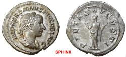 Ancient Coins - 128EM17) Gordian III. AD 238-244. AR Denarius (20 mm, 2.89 g, 12h). Rome mint, 2nd officina. 7th emission, AD 240. Laureate, draped, and cuirassed bust right / Pietas standing left