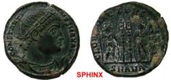 Ancient Coins - 774RF19) Constantine I AE follis (2.79 grms, 17.5 mm). AD 330-335. CONSTANTI-NVS MAX AVG, rosette-diadem, draped, cuirassed bust right / GLOR-IA EXERC-ITVS, two soldiers holding