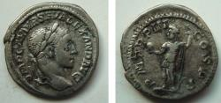 Ancient Coins - 587ROM) SEVERUS ALEXANDER, 222-235 AD, AR DENARIUS, REV EMPEROR WITH GLOBE AND SPEAR, P.M.TR.P.III.COS.P.P., RSC # 2223, IN NICE VF CONDITION.