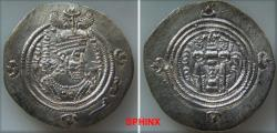 Ancient Coins - 393RF0Z) SASANIAN KINGS. Husrav (Khosrau) II. AD 591-628. Post reform AR Drachm (31.5 mm, 4.08 grms). BYŠh (Bishapur) mint. Dated RY 33 (AD 623/4). Crowned bust right, with Pahlavi