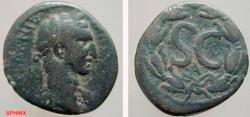 Ancient Coins - 702FG8) Syria, Seleucis and Pieria. Antioch ad Orontem. Nerva. A.D. 96-98. AE 20 mm (5.8 grms). Laureate head right / S C, A below = FIRST ISSUE; all within laurel wreath. BMC 260